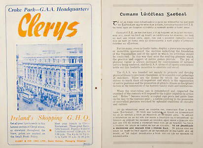 All Ireland Senior Hurling Championship Final,.Programme,.02.09.1951, 09.02.1951, 2nd September 1951,.Wexford 3-9, Tipperary 7-7,.Minor Cork v Galway, .Senior Wexford v Tipperary, .Croke Park, ..Advertisements, Clery's Ireland's Shopping GHQ, ..Articles, Cumann Luitcleas Gaedeal,