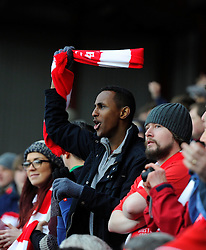 Fan with Scarf  - Photo mandatory by-line: Joe Meredith/JMP - Mobile: 07966 386802 - 25/01/2015 - SPORT - Football - Bristol - Ashton Gate - Bristol City v West Ham United - FA Cup Fourth Round
