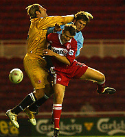 Photo: Back Page Images. 27/10/2004.<br /> Carling Cup. Middlesbrough v Coventry City. The Riverside Stadium.<br /> Carlo Nash and Colin Cooper frustrate Bjarni Gudjonsson