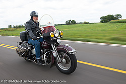 Brent Mayfield of Ohio riding his restored 1945 Harley-Davidson EL Knucklehead in the Cross Country Chase motorcycle endurance run from Sault Sainte Marie, MI to Key West, FL (for vintage bikes from 1930-1948). Stage 2 from Ludington, MI to Milwaukee, WI, USA. Saturday, September 7, 2019. Photography ©2019 Michael Lichter.