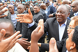 JOHANNESBURG, May 8, 2019  South African President Cyril Ramaphosa (R) greets voters at a polling station in Johannesburg, South Africa, on May 8, 2019. (Credit Image: © Xinhua via ZUMA Wire)