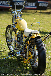 Big Scott Stopnik's 1949 Panhead in a modified 1953 wishbone frame invited builder custom at Born Free-7 at Oak Canyon Ranch. Silverado, CA. USA. Saturday, June 26, 2015.  Photography ©2015 Michael Lichter.