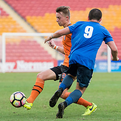 BRISBANE, AUSTRALIA - MARCH 25: Thomas Fanning of SWQ Thunder is tackled by Danny Driver of the Roar during the round 5 NPL Queensland match between the Brisbane Roar and SWQ Thunder at Suncorp Stadium on March 25, 2017 in Brisbane, Australia. (Photo by Patrick Kearney/Brisbane Roar)