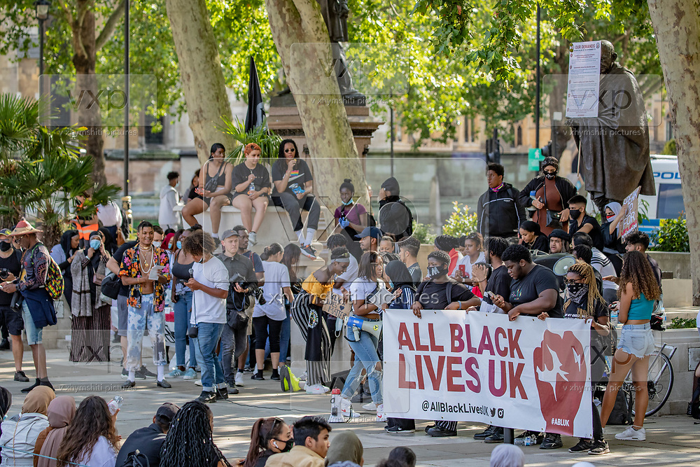 The Black Lives Matter movement gathered people in Parliament Square, Central London on Sunday, July 12, 2020, to protest against systematic racial injustice in Britain. People most of them wearing protective face surgical masks in an effort to curb the spread of coronavirus pandemic outbreak, took part in the seventh weekend of anti-racism protests.  <br /> Anti-Yemeni war protestors also joined the Black Lives Matter to support their cause against racial injustice.<br /> Anger against systemic levels of institutional racism have raged through the city, and worldwide; sparked by the death of George Floyd who died on May 25 after he was restrained by Minneapolis police in the United States. (VXP Photo/ Vudi Xhymshiti)