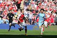 Leroy Sane of Manchester city (r) chases the ball. The Emirates FA Cup semi-final match, Arsenal v Manchester city at Wembley Stadium in London on Sunday 23rd April 2017.<br /> pic by Andrew Orchard,  Andrew Orchard sports photography.