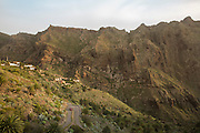 The mountains near the town of Masca with a beautiful landscape and a sunset light.