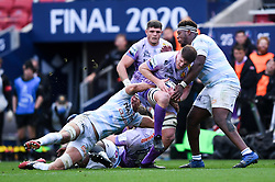 Jacques Vermeulen of Exeter Chiefs is challenged by Racing 92 - Mandatory by-line: Ryan Hiscott/JMP - 17/10/2020 - RUGBY - Ashton Gate Stadium - Bristol, England - Exeter Chiefs v Racing 92 - Heineken Champions Cup Final