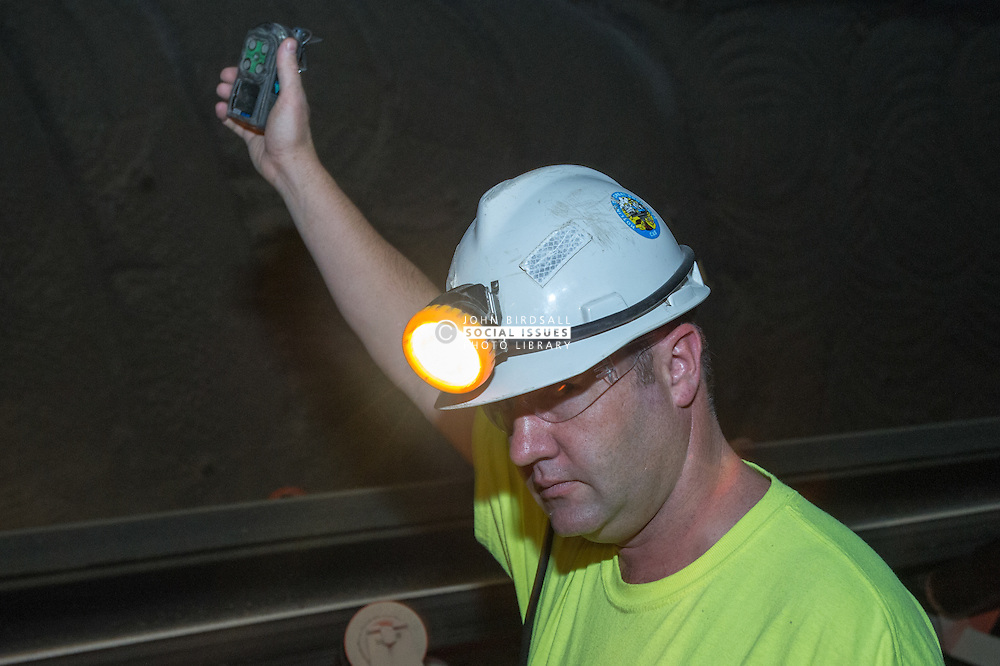 Safety officer checking for H2S in Boulby Potash mine