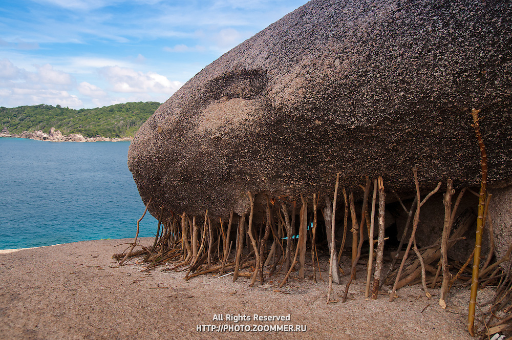Sticks holding huge rock on Similan island