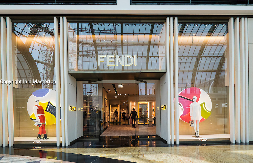 view of Fendi fashion boutique inside Mall of the Emirates in United Arab Emirates