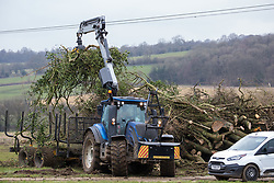 Wendover, UK. 18th March, 2021. HS2 tree felling and hedge clearance work for the HS2 high-speed rail link. Considerable preparatory work of this type is currently taking place along a section of the route between Great Missenden and Wendover which lies to the north of the Chiltern tunnel section of the £106bn rail link.