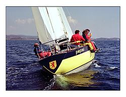 The Clyde Cruising Club's 1977 Tomatin Trophy the first Scottish Series held at Tarbert Loch Fyne.  An overnight race from Gourock to Campbeltown then on to Olympic Triangles in Loch Fyne. ..Alan Milton's  K1300 Pepsi.