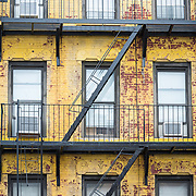 Delapidated apartment building in Hells Kitchen neighbourhood of Manhattan