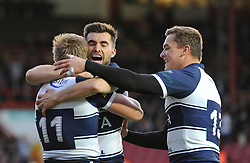 Bristol Rugby's Charlie Amesbury celebrates his try with Bristol Rugby's Craig Hampson and Bristol Rugby's Gareth Maule - Photo mandatory by-line: Dougie Allward/JMP - Mobile: 07966 386802 - 17/04/2015 - SPORT - Rugby - Bristol - Ashton Gate - Bristol Rugby v Jersey - Greene King IPA Championship