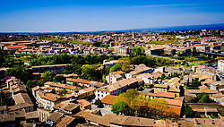 View over the town of Carcassonne, France from the Chateau Comtal in the medieval Cité.<br /> <br /> (c) Andrew Wilson   Edinburgh Elite media
