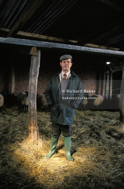 A portrait of Devon County Farmers Union, Geoff Cleverdon, on 28th May 1990, in Devon, England.