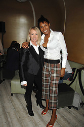 Left to right, KAREN MILLEN and SONIQUE at the launch party for 'The End of Summer Ball' in Berkeley Square held at Nobu Berkeley, 15 Berkeley Street, London on 7th April 2008.<br /> <br /> NON EXCLUSIVE - WORLD RIGHTS