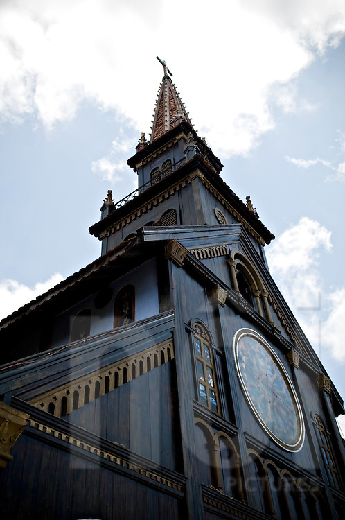 Facade of a the wooden church in Kontum, Vietnam, Southeast Asia