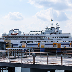 Lewes, DE / USA - June 24, 2013: The Cape May - Lewes Ferry at dock at the Lewes terminal.