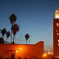 North Africa, Africa, Morocco, Marrakesh. Twilight view of the Koutoubia minaret of Marrakesh.