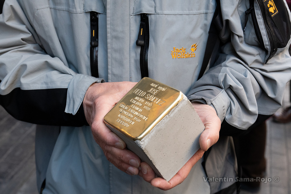 Madrid, Spain. 26th April, 2019. A person holding the Stolperstein in the memory of Jose Bello Sanchez. © Valentin Sama-Rojo