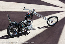 Hawaii custom bike builder Noah O'Geen's panhead chopper at the Buffalo Chip during the Annual Sturgis Black Hills Motorcycle Rally.  SD, USA.  August 7, 2016.  Photography ©2016 Michael Lichter.