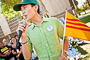 "June 13 - PHOENIX, AZ: BAO NGUYEN, from Garden Grove, CA, and an immigrant from Vietnam, speaks at an immigrants' rally and vigil in Phoenix Sunday. About 40 immigrants' rights activists from Anaheim, California, joined Phoenix area activists at the Arizona State Capitol Sunday for a prayer vigil and rally against SB 1070, the Arizona law that gives local law enforcement agencies the power to ask to see proof of immigration status in the course of a ""lawful contact"" and when ""practicable."" Immigrants' rights and civil rights activist say the bill will lead to racial profile. Proponents of the bill say it is the toughest local anti-immigration bill in the country and merely brings state law into line with federal immigration law.  The law, which was signed by the Arizona Governor in April, goes into effect on July 29, 2010.   Photo by Jack Kurtz"