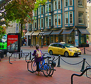 Gaslight District, Vancouver, Canada, art, bike rack, public bicycles, hybrid taxi