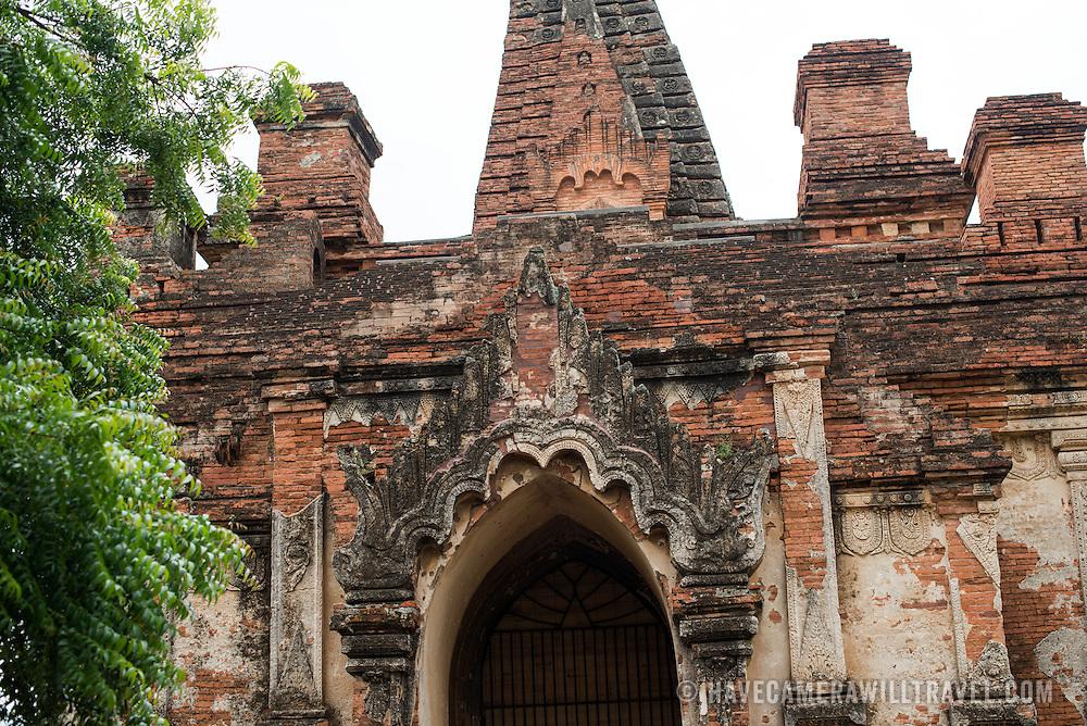 Remnants of the ornate stucco exterior of Gu-byauk-gyi Temple in Nyaung-U, Myanmar (Burma).