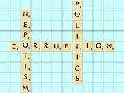 Digitally created Scrabble tiles on a board spelling out political corruption and nepotism