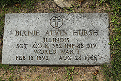 31 August 2017:   Veterans graves in Park Hill Cemetery in eastern McLean County.<br /> <br /> Birnie Alvin Hursh Illinois Sergeant Co K 352 INF 88 DIV World War I Feb 18 1892  Aug 28 1955