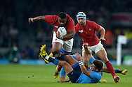 Mathieu Bastareaud of France charges into Tommaso Allan of Italy. Rugby World Cup 2015 pool D match, France v Italy at Twickenham Stadium in London on Saturday 19th September 2015.<br /> pic by John Patrick Fletcher, Andrew Orchard sports photography.