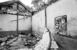 Interior of bedroom of demolished house in a hutong in Beijing China