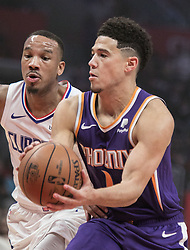 November 28, 2018 - Los Angeles, California, U.S - Devin Booker #1 of the Phoenix Suns drives past Avery Bradley #11 of the Los  Angeles Clippers during their NBA game on Wednesday November 28, 2018 at the  Staples Center in Los Angeles, California. Clippers defeat Suns, 115-99. JAVIER  ROJAS/PI (Credit Image: © Prensa Internacional via ZUMA Wire)