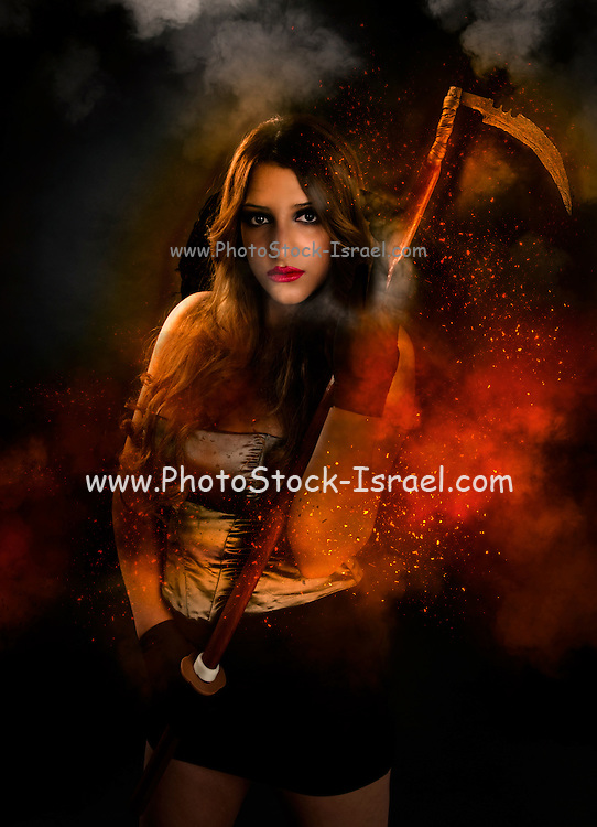 Grim reaper female DEATH carrying scythe wrapped in hell's flames