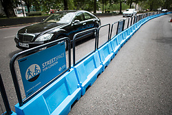 © Licensed to London News Pictures. 16/05/2020. London, UK. New barriers installed on Park Lane in London to widen the cycle lanes. Government has announced a series of measures to slowly ease lockdown, which was introduced to fight the spread of the COVID-19 strain of coronavirus. Photo credit: Ben Cawthra/LNP