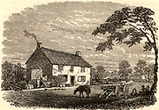 The house at Wylham near Newcastle, Northumberland, in which George Stephenson (1781-1848) English mechanical engineer and railway pioneer was born.  Engraving c1850.