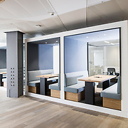 An interior shoot showcasing the modern Regus business office space in the news building, central London.