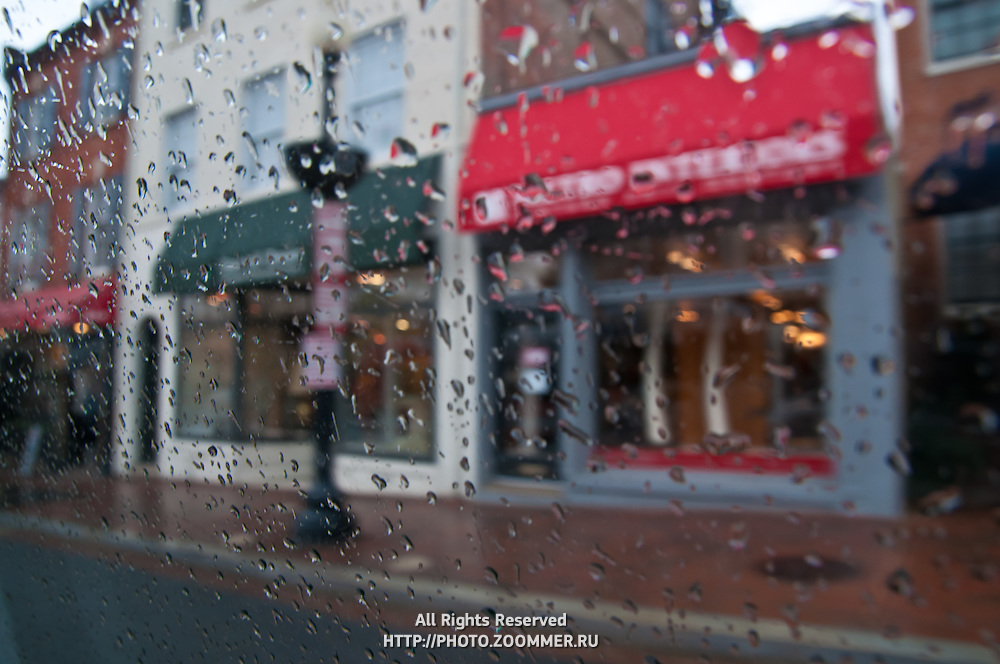 Raindrops on car window in Georgetown, Washington DC