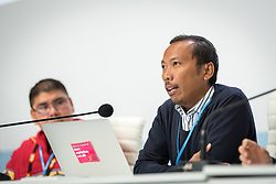 4 December 2019, Madrid, Spain: Budi Tjahjono from Franciscans International speaks at a press conference held at COP25, reporting on the findings of an interfaith dialogue on 1 December.