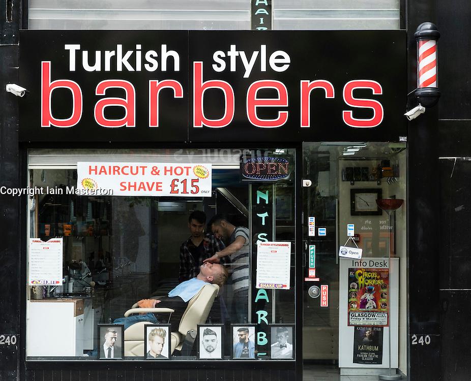 Turkish style Barber shop on Sauchiehall Street in Glasgow, Scotland, United Kingdom