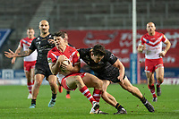 Rugby League - 2020 Betfair Super League - Semi-final - St Helens vs Catalan Dragons - TW Stadium<br /> <br /> St. Helens's Lachlan Coote is tackled by Catalans Dragons's Matt Whitley<br /> <br /> COLORSPORT/TERRY DONNELLY