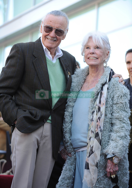 Comic book hero Stan Lee, posing with his wife Joan Lee, is honored with the 2,428th star on the Hollywood Walk of Fame. Los Angeles, January 4, 2011. Photo by Lionel Hahn/AbacaUsa.com