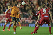 Björn Sigurðarson (Wolverhampton Wanderers) heads the ball during the Sky Bet Championship match between Middlesbrough and Wolverhampton Wanderers at the Riverside Stadium, Middlesbrough, England on 4 March 2016. Photo by Mark P Doherty.