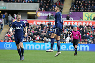 Erik Lamela of Tottenham Hotspur ® celebrates after he scores his teams 2nd goal. The Emirates FA Cup, quarter-final match, Swansea city v Tottenham Hotspur at the Liberty Stadium in Swansea, South Wales on Saturday 17th March 2018.<br /> pic by  Andrew Orchard, Andrew Orchard sports photography.