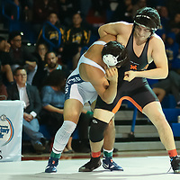 Michael Wiley of Los Gatos (Black Uniform) wrestles in the finals of the 2018 CCS Wrestling Finals (Photo by Bill Gerth)