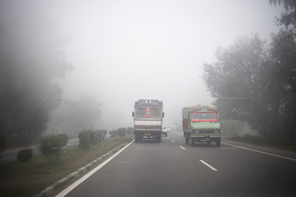 a misty day on the highway at the Punjab Road.