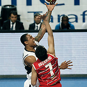 Efes Pilsen's Lawrence ROBERTS (L) during their Turkish Basketball Legague Play-Off qualifying first match Efes Pilsen between Pinar Karsiyaka at the Sinan Erdem Arena in Istanbul Turkey on Wednesday 11 May 2011. Photo by TURKPIX
