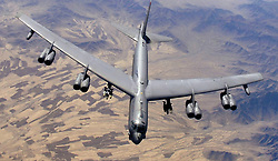 April 14, 2018 - FILE - The US, UK and France launched strikes against targets at three sites in Syria in the early hours of Saturday morning, following a week of threats of retaliation for an alleged chemical weapons attack on civilians in Douma. PICTURED:  February 9, 2006 - Afghanistan - A U.S. Air Force B-52H Stratofortress strategic bomber aircraft flies over the desert February 9, 2006 in Afghanistan. (Credit Image: © Lance Cheung/DOD via ZUMA Wire)