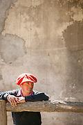 Gaucho wearing red beret, Estancia Huechahue, Patagonia, Argentina, South America